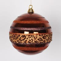 "Diva Safari Cheetah Print & Stripes Copper and Coffee Christmas Ball Ornament 8"" (200mm) - ORANGE"