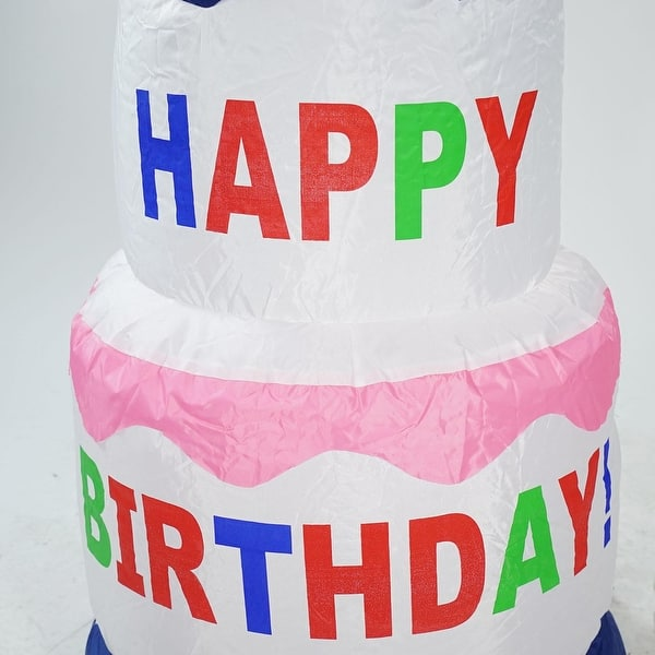 Prime Shop 4 Inflatable Lighted Happy Birthday Cake Outdoor Decoration Personalised Birthday Cards Bromeletsinfo