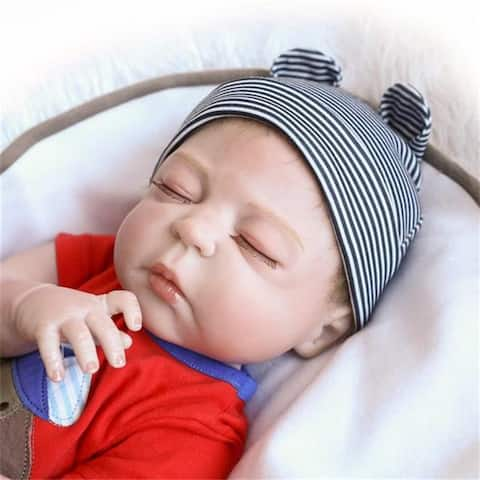 "23"" Cute Full Simulation Silicone Baby Body Reborn Baby Doll - 7'9"" x 10'10"""
