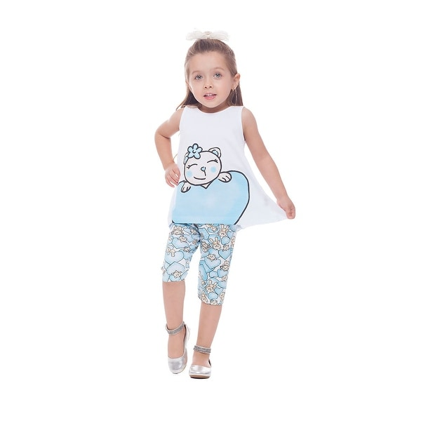 Toddler Girl Outfit Graphic Tank Top and Capri Pants Set Pulla Bulla 1-3 Years
