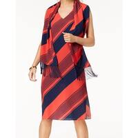 Donna Ricco Red Women's Size 10 Striped Shift Dress Scarf Set