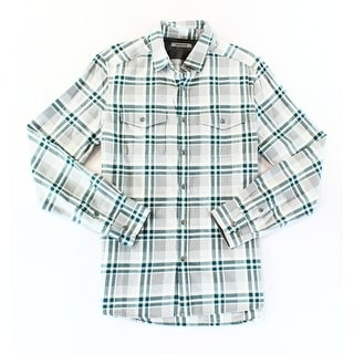 Kenneth Cole Reaction NEW Gray Mens Small S Plaid Button Down Shirt