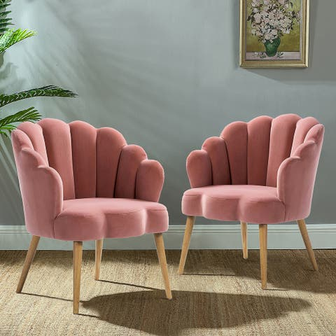 Flora Scalloped Tufted Velvet Armchairs (Set of 2)