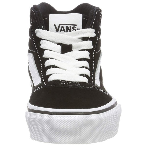 Shop Vans Ward Hi Round Toe Canvas Skate Shoe, Black White