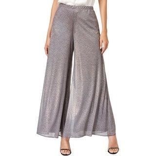 MSK Womens Wide Leg Pants Metallic Stretch