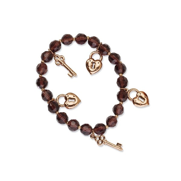 Copper Beaded Purple Crystal and Charms Stretch Bracelet
