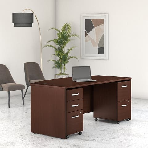 Studio C 72W Bow Front Desk with Drawers by Bush Business Furniture