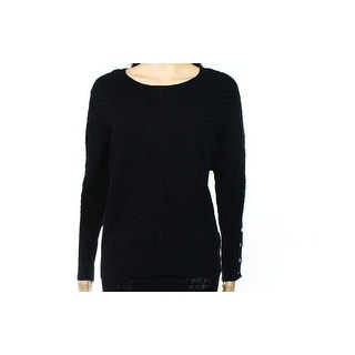 Alfani NEW Black Womens Size Medium M Boat Neck Ribbed Knit Sweater