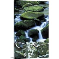 Premium Thick-Wrap Canvas entitled Great smokey mountains, with mossy rocks