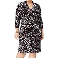Anne Klein Black Women's Size 24W Plus Printed Faux-Wrap Dress