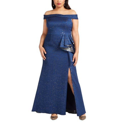 Adrianna Papell Women's Dress Blue Size 18W Plus Off Shoulder Gown