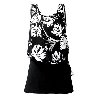 Blouson Tankini Top with Black Skirt in Black & White Floral Print (Option: 20w)