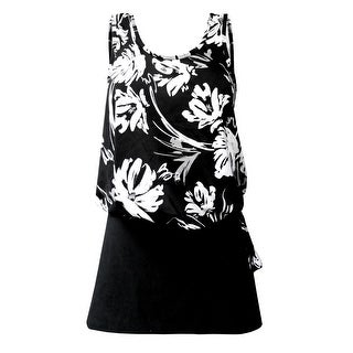 Blouson Tankini Top with Black Skirt in Black & White Floral Print