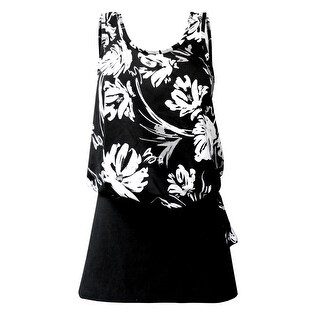 Blouson Tankini Top with Black Skirt in Black & White Floral Print (Option: 16)