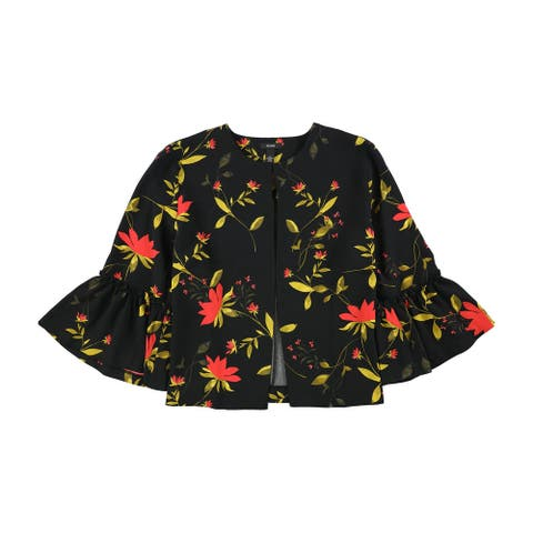 Alfani Womens Printed Bell-Sleeve Jacket, black, XX-Large