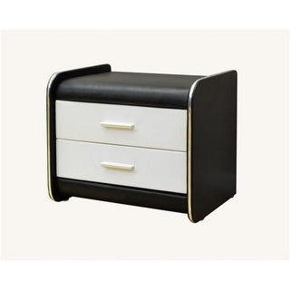 Greatime 15.7 x 20.7 in. Black & White Two Draws Vinyl Nightstand
