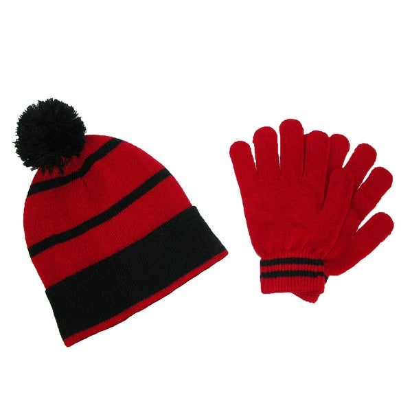 CTM® Kids' Knit Beanie Hat and Gloves Winter Set