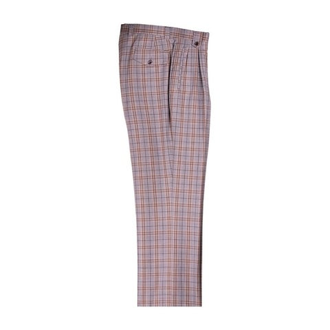 Light Gray with Brown Plaid Wide Leg Dress Pants Pure Wool by Tiglio Luxe