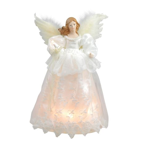 """14"""" Lighted Ivory and White Angel Christmas Tree Topper - Clear Lights"""