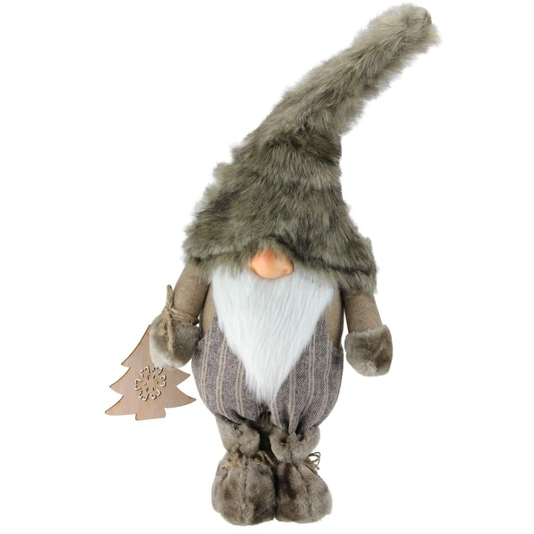 """22"""" Gnome with Christmas Tree Ornament Tabletop Decoration - brown"""