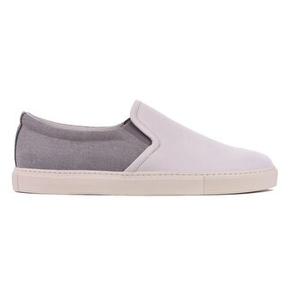 Brunello Cucinelli Light Grey Leather Canvas Slip On Sneakers