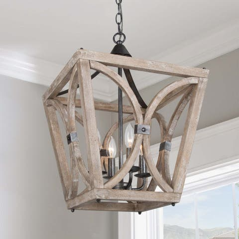 "Farmhouse 4-lights Wood Chandelier Candlestick Lantern Hanging Pendant - L15.5"" xW15.5 ""xH21.5"""