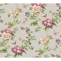 York Wallcoverings ER8218 Waverly Cottage Fawn Hill Wallpaper - silver satin/pink/magenta/purple/green
