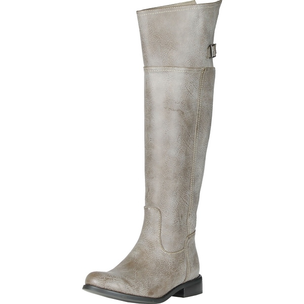 Breckelle's Rider-82 Fashion Basic Thigh Knee High Classic Buckle Riding Boot - Stone - 6 b(m) us