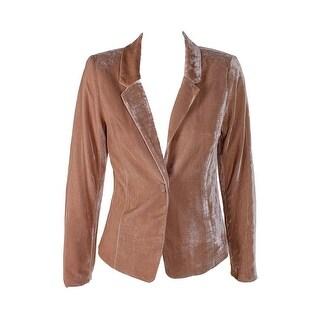 Kensie Beige Long-Sleeve Velvet Blazer S
