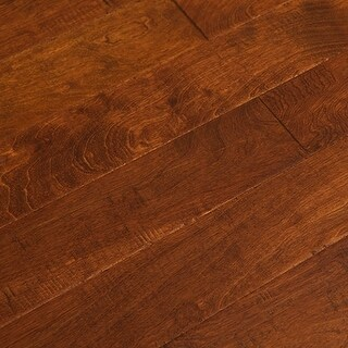 "SAMPLE Kanstar Engineered Hardwood - 17.5 sq. ft. Fable Birch Collection Java Mocha / Birch / Handscraped / 5"" / 1/2"" / 9"""