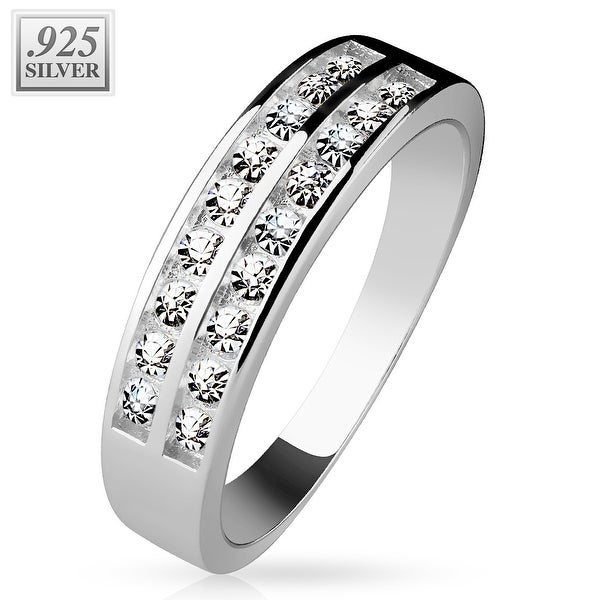 Double Channel CZ Center .925 Sterling Silver with Authentic Rodium Finish Ring (Sold Ind.)