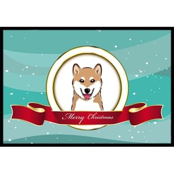 Carolines Treasures BB1535JMAT Shiba Inu Merry Christmas Indoor & Outdoor Mat 24 x 36 in.