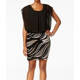 SLNY NEW Black Gold Sequined Skirt Women's Size 12 Blouson Dress