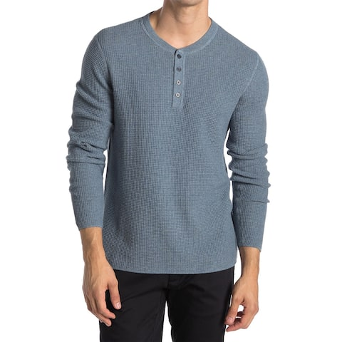 Original Penguin Mens Long Sleeve Waffle Henley Shirt XX-Large China Blue