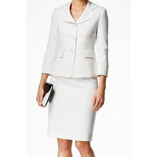 Le Suit NEW White Vanilla Textured Dot Women's Size 18 Skirt Suit Set