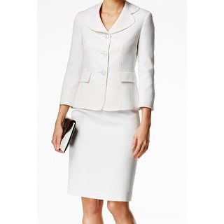 Le Suit NEW White Women's Size 4 Textured Three Button Skirt Suit