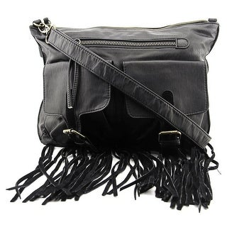 T-Shirt & Jeans Fringe Trim Crossbody Women   Synthetic  Messenger - Black
