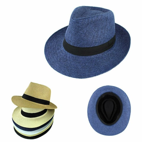 b2a932fbbd66f Unisex Summer Panama Straw Fedora Hat Short Brim Beach Sun