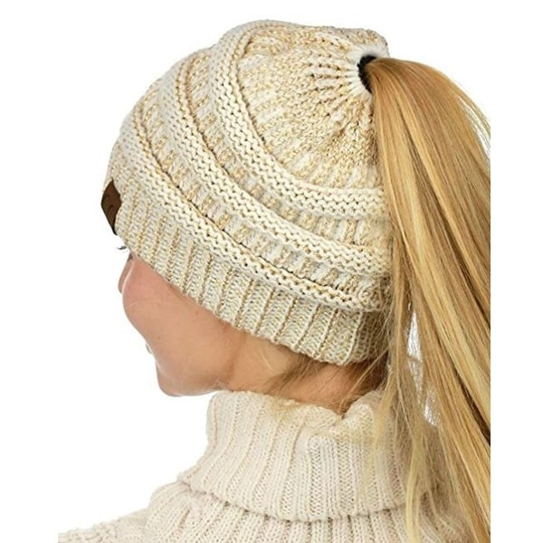 3b507e636f4 Shop Ponytail Messy Bun Beanie Tail in Ivory Gold Metallic - On Sale ...