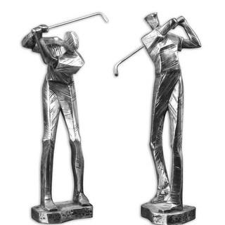 "Set of 2 Metallic Silver and Black Glazed Finish Golfer Figurines 16"""