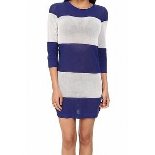 Tommy Bahama NEW Blue Women Medium M Stripe Beach Sweater Cover-Up