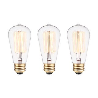 Globe Electric 31321 Pack of (3) Vintage Edison 60W Dimmable S60 Medium (E26) Incandescent Bulb - N/A - N/A