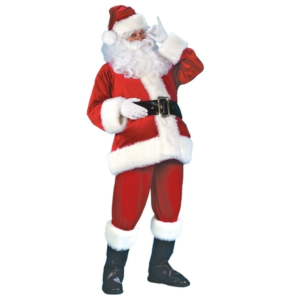 8257954994dd1 Shop 6-Piece Red and White Men s Plus Size Santa Claus Velvet Christmas  Costume - Free Shipping Today - Overstock - 16556574