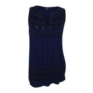 Lucky Brand Women's Trendy Plus Size Embellished Knit-Back Top - indigo multi