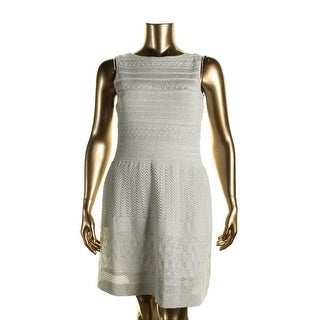 Lauren Ralph Lauren Womens Petites Pointelle Metallic Sweaterdress