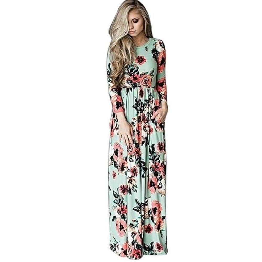 Womens Floral Print 3/4 Sleeve Pockets Casual Swing Pleated Long Maxi Dress