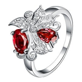 Petite Red Ruby Blossom Floral Modern Ring