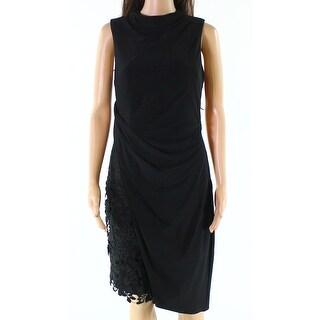 Vera Wang Black Women's Size 4 Ruched Mock-Neck Sheath Dress