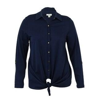 Charter Club Women's Pima Cotton Tie-Front Top - intrepid blue - 1x