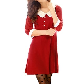 Women Two Layers Collar 3/4 Sleeves Above Knee Dress Red XS